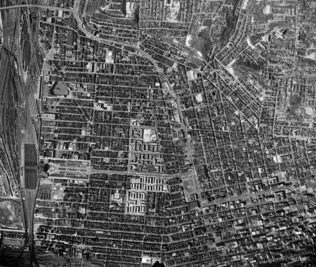 The aerial photo from 1955 shows the abundance of urban fabric. Orient yourself with union terminal at the left and downtown Cincinnati on the lower right. The west end is on the lower and middle left.
